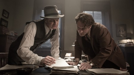 """Colin Firth and Jude Law discuss how to give the screenplay a bit more oomph while prepping a scene from """"Genius."""""""