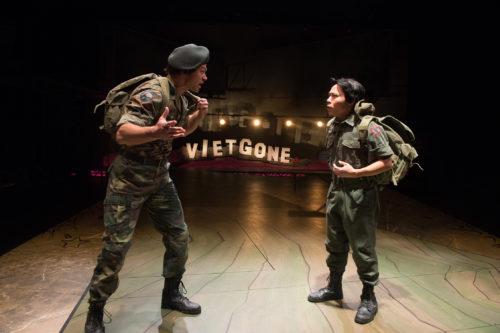 Quang (James Ryen) and Nhan (Will Dao) argue over what to do as Saigon falls. Photo: Jenny Graham, Oregon Shakespeare Festival