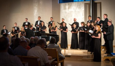 "Santa Fe Desert Chorale sang ""American Voices"" program. Photo: Chelsea Call."