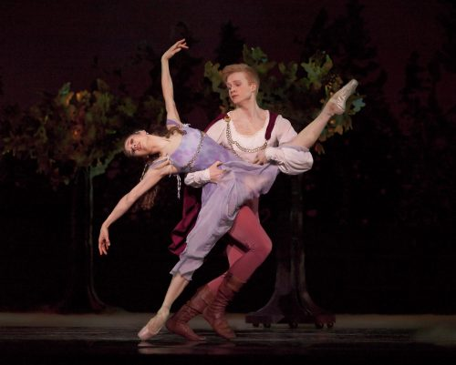 """Gavin Larsen and Adrian Fry (now with Ballet West) in """"A Midsummer Night's Dream"""" at Oregon Ballet Theatre. Photo: Blaine Truitt Covert"""