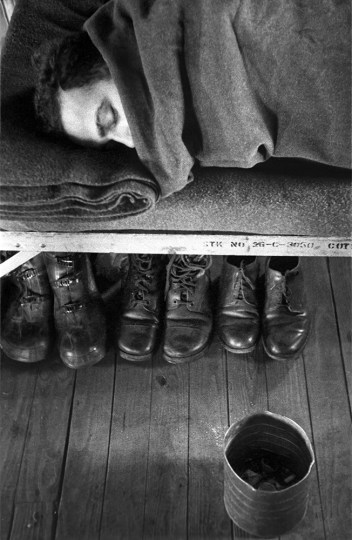 """Harold Feinstein, """"Boots Stowed Under Cot"""", Fort Dix, New Jersey, 1952./Courtesy Blue Sky Gallery"""