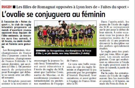 Article paru dans le journal La Montagne (édition Haute-Loire)pour annoncer la rencontre