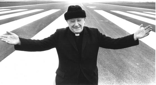Msgr Horan on runway