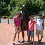 The kids with Thomas Jefferson