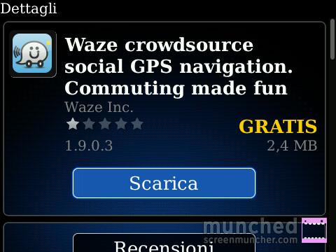 Download Waze tramite Blackberry AppStore