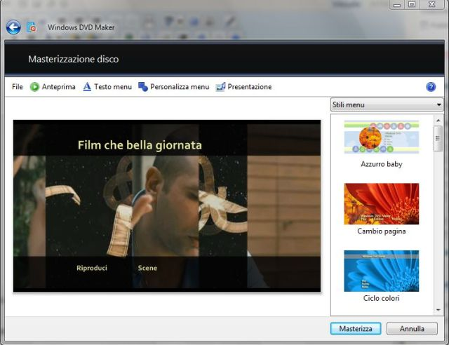 Windows DVD Maker Creazione Menu