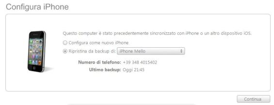 Backup iTunes ripristino