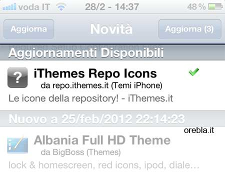 Cydia elenco update disponibili