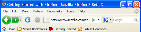 Screenshoot: Firefox 3 Beta 3