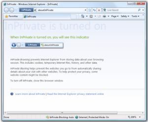IE8: Finestra InPrivate Browsing in funzione