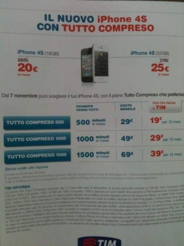 volantino TIM iPhone 4S