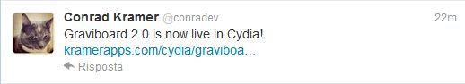 Tweet aggiornamento Graviboard 2