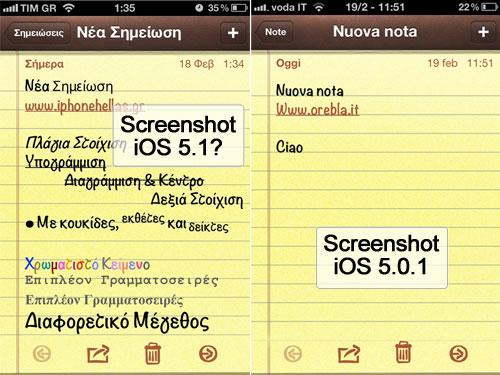 Screenshot Note a confronto