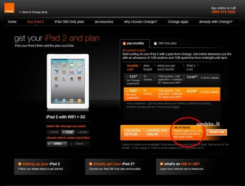iPad 2 Out of Stock on Orange UK