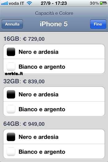 Listino prezzi iPhone 5 ufficiale Apple