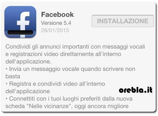 Aggiornamento Facebook app 5.4