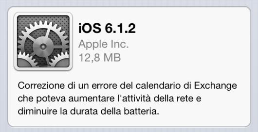 Aggiornamento iOS 6.1.2
