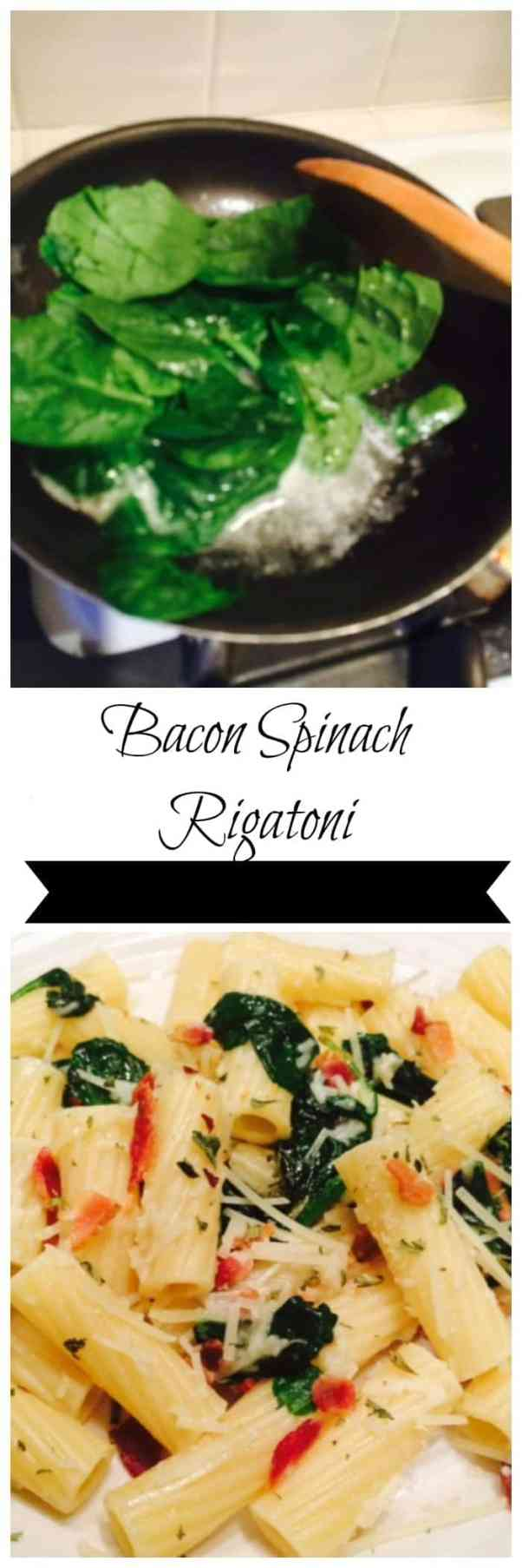 Bacon Spinach Rigatoni