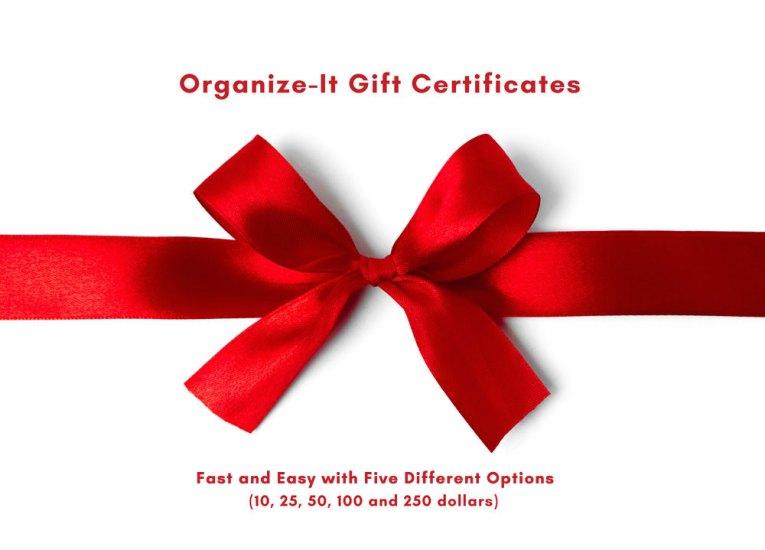 Organize-It Gift Certificates