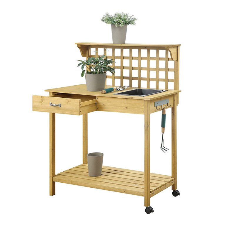 lattice potting bench