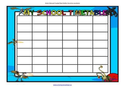 my school timetable Dragons Riders of Berk editable cells image