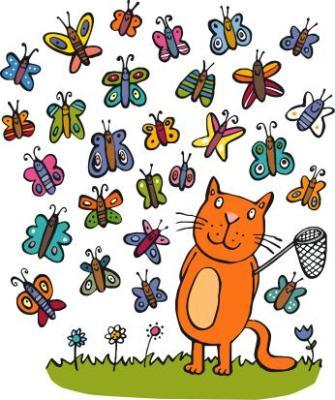 gato cazando mariposas