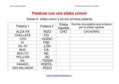ACTIVIDADES DISLEXIA  papabras con una silaba común imagen 2