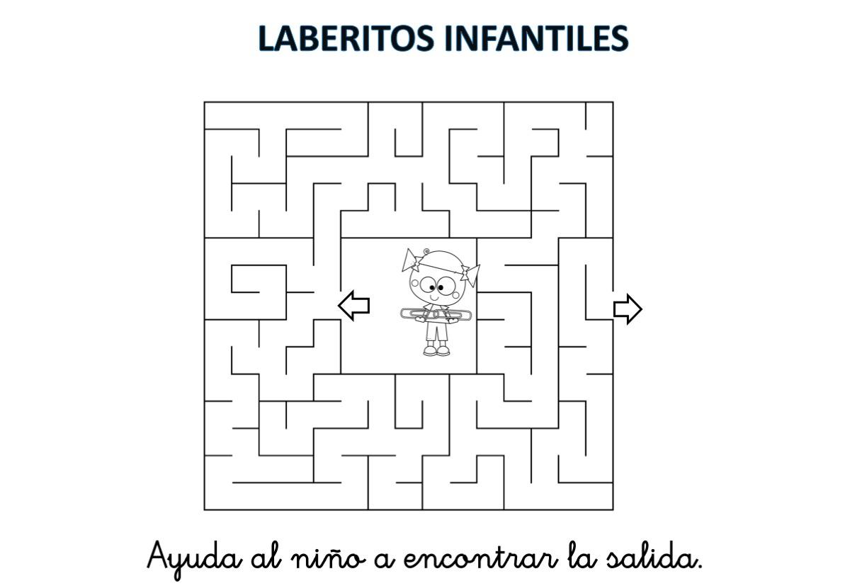 Laberintos infantiles en ByN listos para imprimir