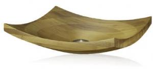 Curved bamboo bathroom sink