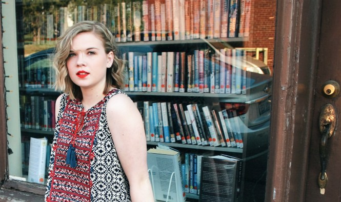 "Books and a Dress. Close up image of the printed dress and my Mac ""Ruby Woo"" lipstick in front of the local library."