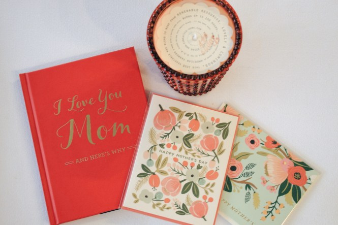 "Last Minute Mother's Day Gift Guide. ""I Love You Mom"" book, candle, and card."