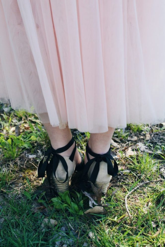Pink skirt. Close up of the lace up wedges.