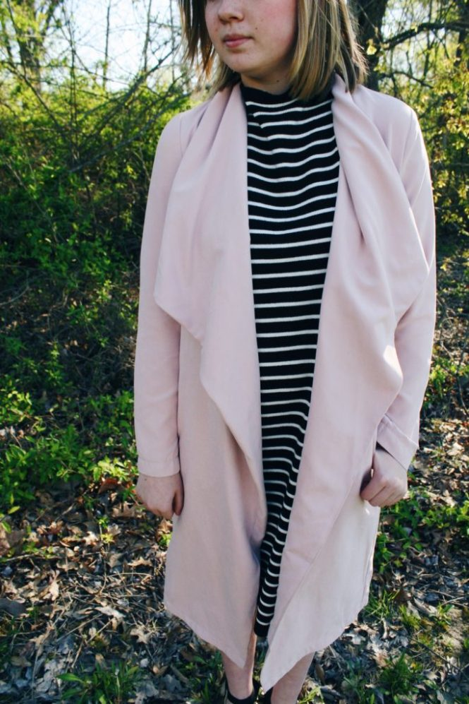 "When I ""Grow Up"". Modeling a pale pink coat, striped sweater dress, and lace up wedges."