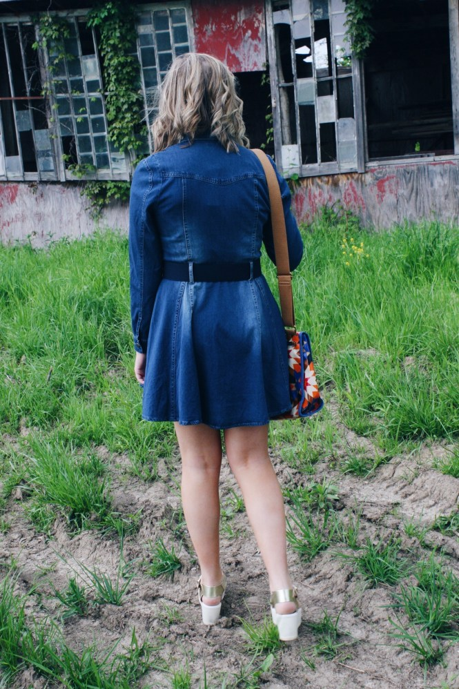 I'm Feeling Inspired By The 70s. Back view of the of the pleated denim dress.