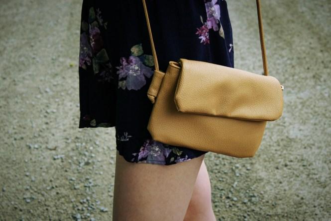 Rompin' Around. Floral romper, platform sandals, beige cross body.