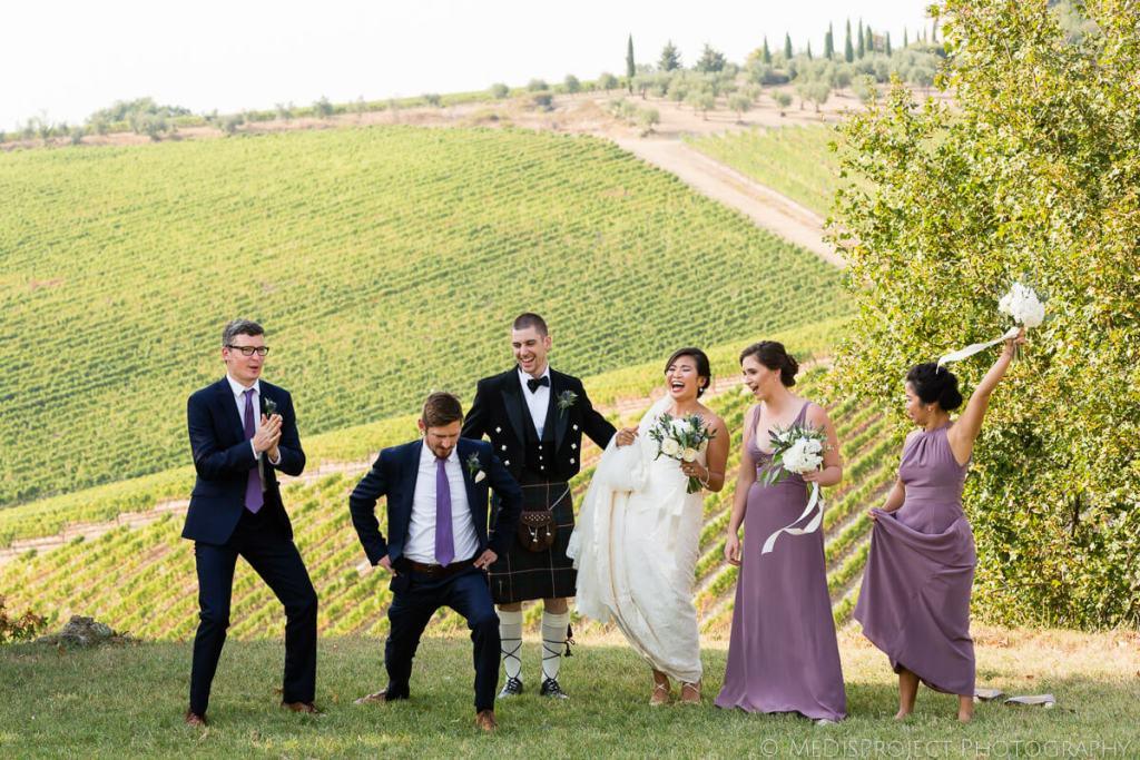 fun wedding in a tuscan winery
