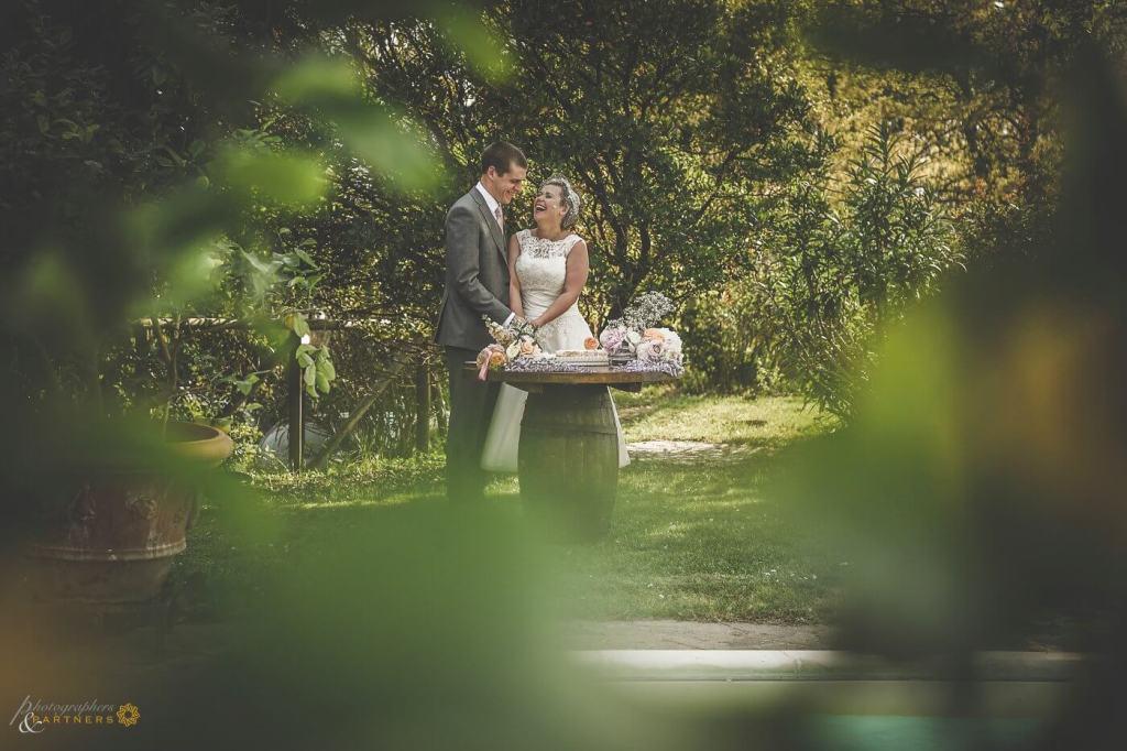 Emma & Alex in the garden of Fattoria di Corsignano