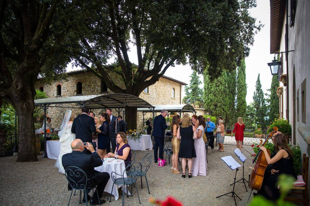 guests await the bride and groom to the reception