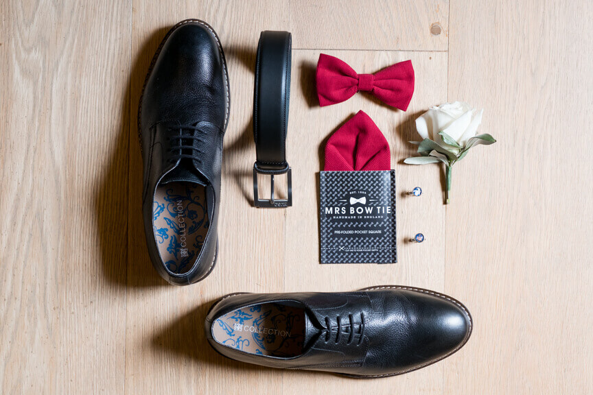 Shoes and tie of the groom