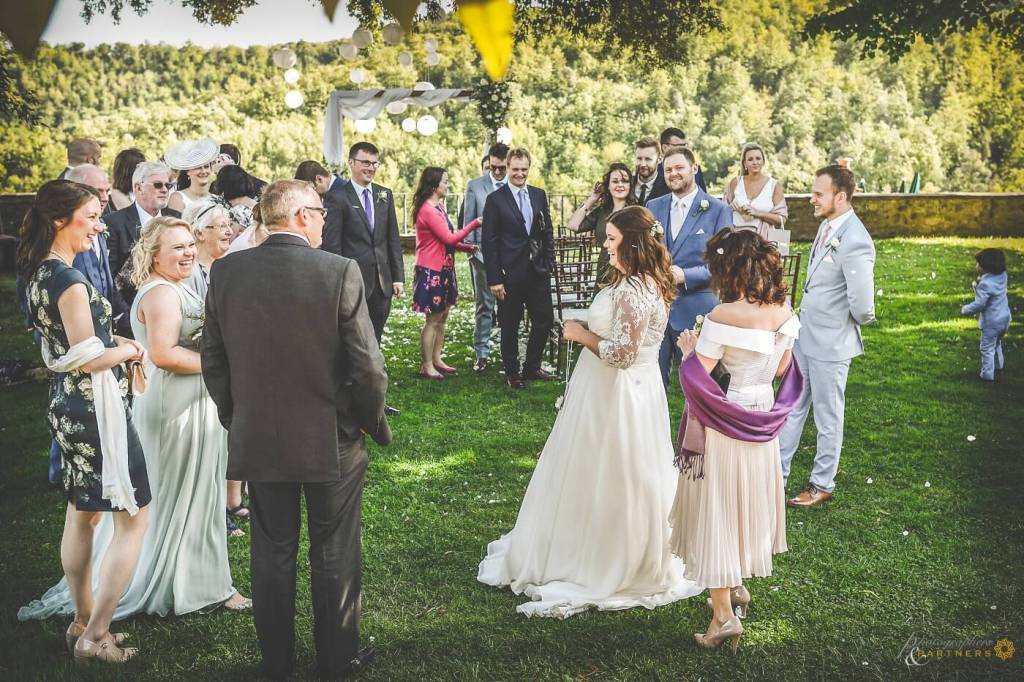 Amy & Elliot have fun with their guests after the ceremony