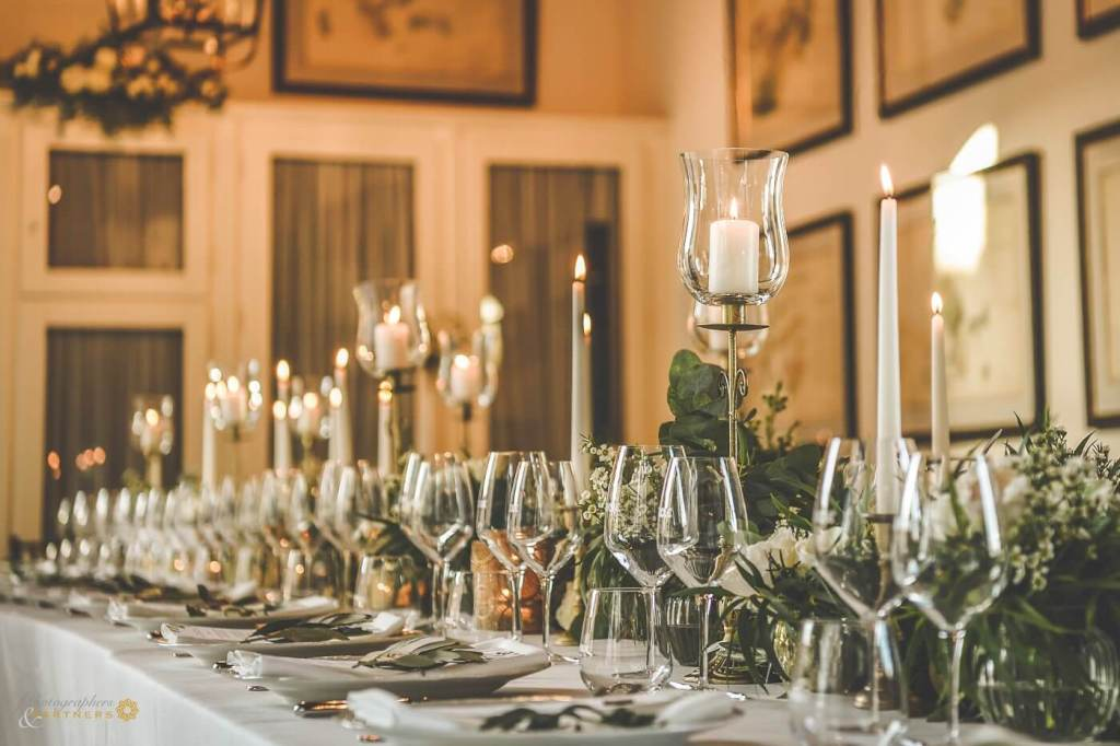 The table is ready for the wedding reception