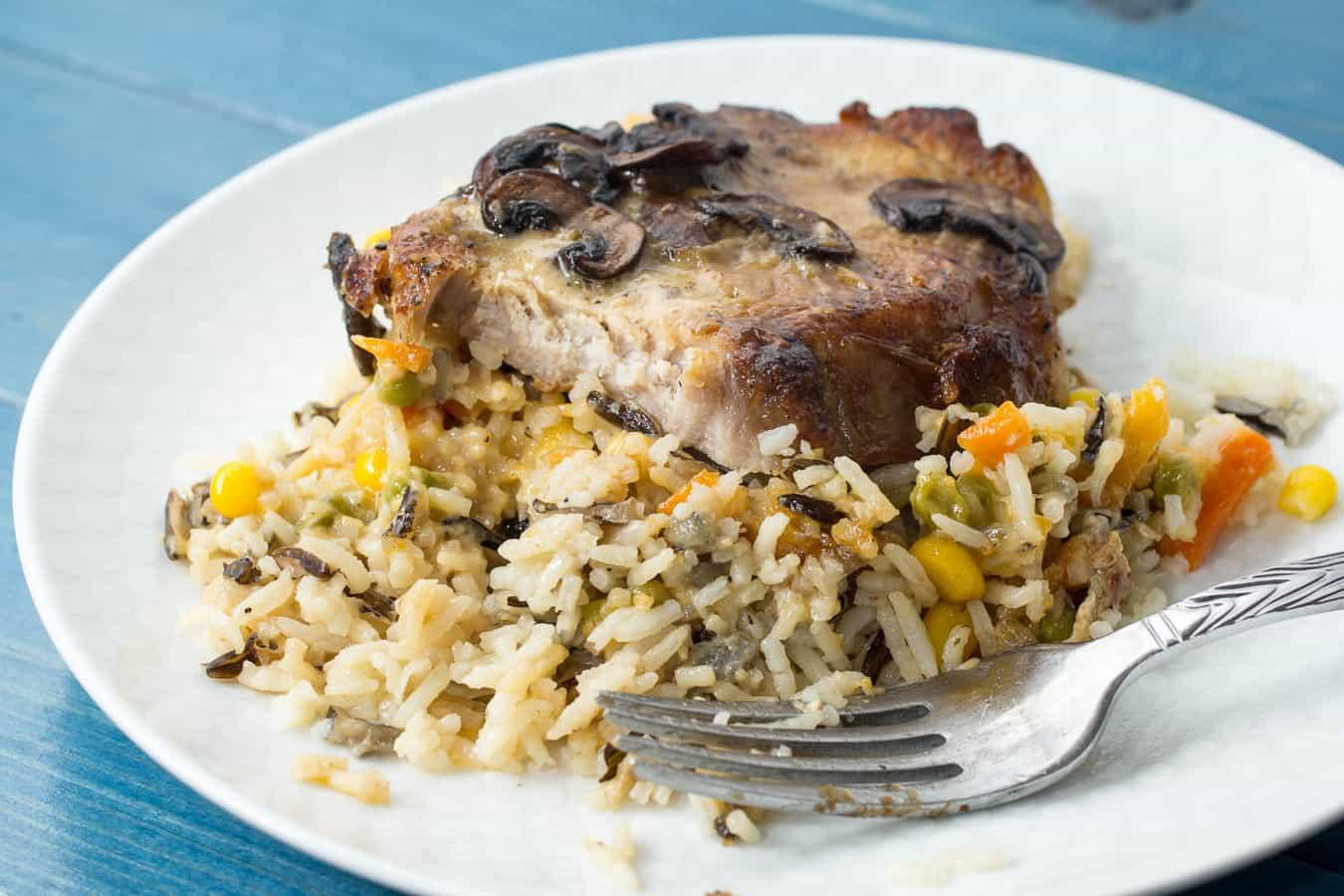 Mushroom Pork Chops with Vegetable Wild Rice Pilaf {easy meals with vegetables}
