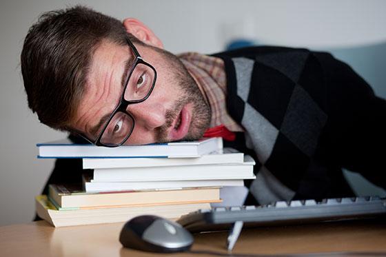 man falling asleep