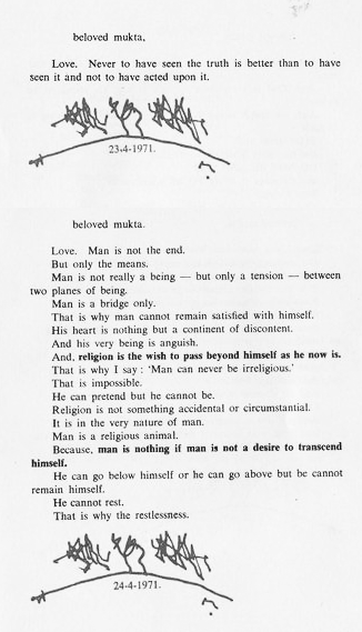 1971 letter from Osho to Mukta