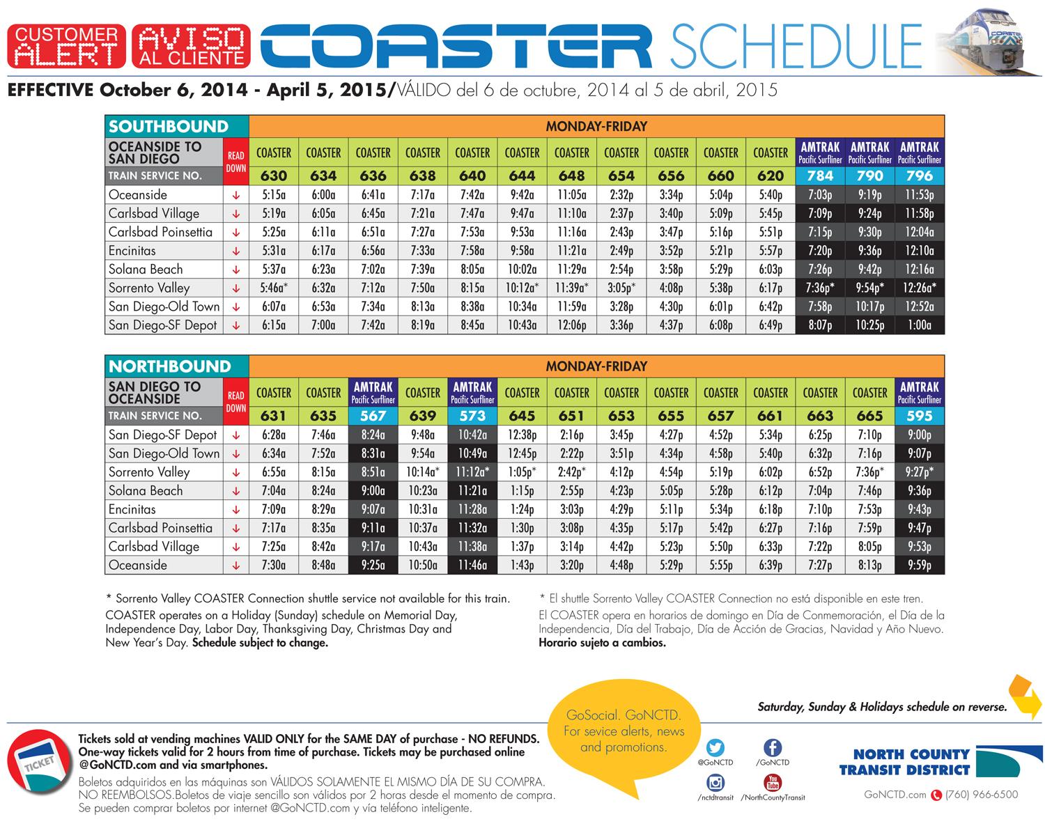 New Coaster Schedule Goes Into Effect October 6 2014