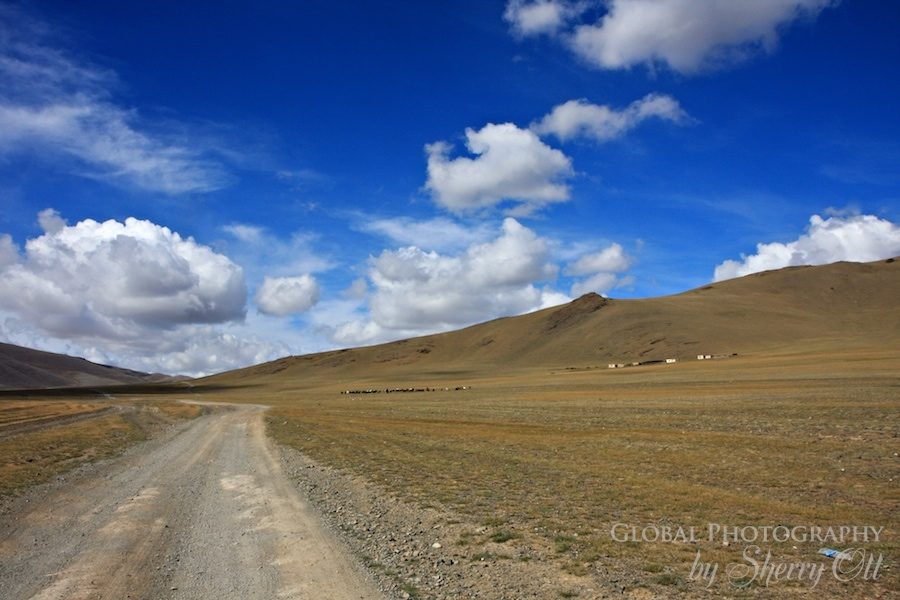 clouds road mongolia