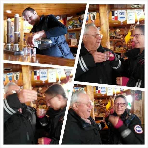 Enjoying the vodka at the Ukrainian bar in Antarctica