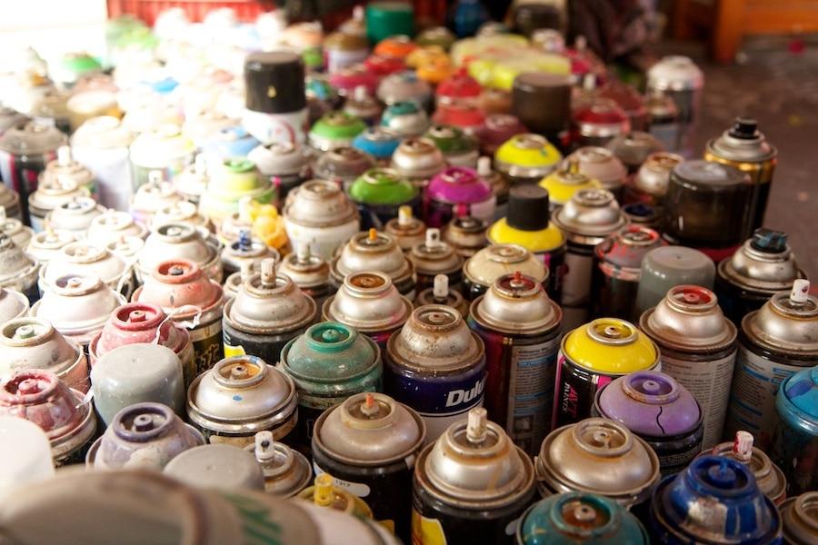 spray paint bottles