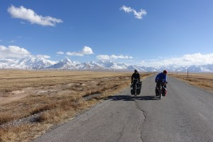 Looking back at the peaks in the Pamirs with Jean