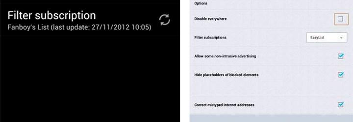 Дополнение Adblock Plus для Firefox - Android
